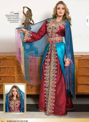 Caftan aux couleurs et motifs berbères d'Algérie. (©Majda Haute Couture)