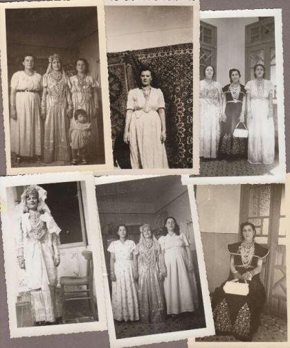 Photographies offertes par une famille de Tlemcen avec des femmes portant la blousa.