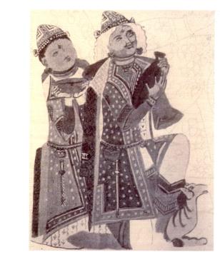 Couple de donateur de la Grotte aux frises animale de Kirish dans le Xinjiang(Chine), VIIIe siècle.