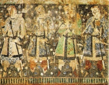 Donneurs tokhariens représentés sur une fresque du VIe siècle en caftan sassanide. (©La revue de Téhéran)